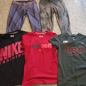 Nike Activewear lot dri fit tops and capris size M